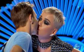 American Idol judge Katy Perry kisses contestant. Picture: CNN