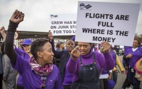SAA protesters protested against low wages outside the SAA Administration offices at the OR Tambo airport. Picture: Thomas Holder/EWN.