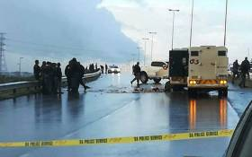 Officials on scene where a cash-in-transit heist took place on Jakes Gerwel Drive in Cape Town, on 18 June 2018. Picture: Supplied.