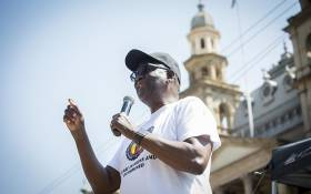 Former Congress of South African Trade Unions (Cosatu) General-Secretary Zwelinzima Vavi addresses members of the public outside national treasury in Pretoria on 3 March 2017 over their dissatisfaction with President Jacob Zuma's latest cabinet reshuffle. Picture: Reinart Toerien/EWN