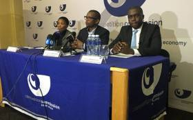FILE: Members of the Competition Commission's executive committee, Nompucuko Nontombana (left), Tembinkosi Bonakele (centre) and Hardin Ratshisusu (right). Picture: @CompComSA/Twitter