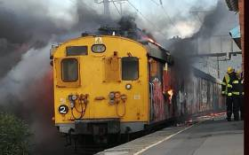 A train is alight at Steenberg Railway Station on 18 June 2018. Picture: CoCT fire & rescue services.