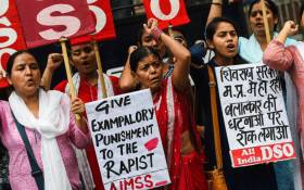 FILE: Indian women protest against the rape of the eight year old in Mandsaur, Madhaya Pradesh, in New Delhi on 30 June 2018. Picture: AFP