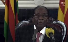 A screengrab from the broadcast of Zimbabwe Broadcasting Corporation (ZBC) shows Zimbabwe's President Robert Mugabe delivering a speech in Harare on 19 November 2017 following a meeting with army chiefs who have seized power in Zimbabwe. Picture: AFP.