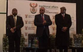 Minister of Cooperative Governance Des van Rooyen (left) and President Jacob Zuma (centre) attend the Indigenous and traditional leader's Indaba in Boksburg. Picture: Mia Lindique/EWN