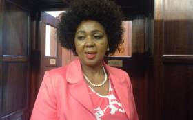 Former SABC board chairperson Ellen Tshabalala outside Parliament after being grilled by MPs. Picture: Gaye Davis/EWN.