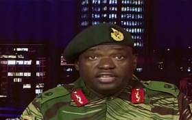 A screengrab of Zimbabwe army spokesperson Sibusiso Moyo on state TV.