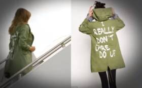 A screengrab of US First Lady Melania Trump wearing a jacket emblazoned with the words 'I really don't care, do you?' following her surprise visit with child migrants on the US-Mexico border. Picture: CNN