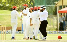 Afghanistan cricketers celebrate a wicket. Picture: @TheCricketAFG/Twitter