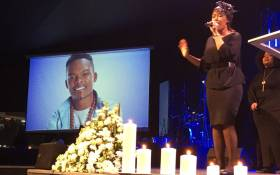 Dumi Masilela's wife Simphiwe Ngema singing at her husband's memorial in Johannesburg. Picture: Hitekani Magwedze/EWN.