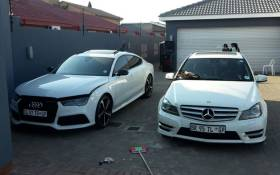 Two of the hijacked vehicles recovered by police. Picture: @SAPoliceService/Twitter