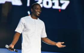 Host of AFRIMA, Senegalese born US artist Akon speaks during the All Africa Music Awards (AFRIMA) in Lagos 12 November, 2017. Picture: AFP.