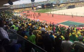 Thousands of people gathered at the Royal Bafokeng Stadium on 8 January for the ANC's 104th birthday celebrations. Picture: Thando Kubheka/EWN.