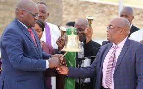 Gauteng Premier David Makhura and Health Minister Aaron Motsoaledi during a healing session for the families of the Life Esidimeni victims in Pretoria. Picture: @GautengProvince/Twitter.