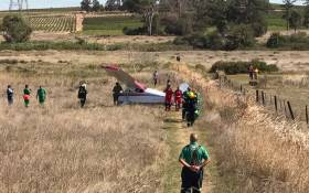 Emergency rescue services on the scene where a plane made an emergency landing. Picture: @ER24EMS/Twitter