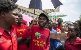 Members of the Economic Freedom Fighters student command staged a protest outside the Department of Higher Education in Pretoria. Picture: IHSAAN HAFFEJEE/EWN