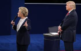 FILE: Hillary Clinton and Donald Trump debate during the second presidential debate at Washington University in St. Louis, Missouri, on 9 October, 2016. Picture: AFP.