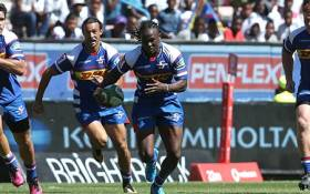 Stormers wing Seabelo Senatla runs the ball against the Jaguares. Picture: Twitter/@THESTORMERS