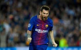 Barcelona forward Lionel Messi celebrates a goal. Picture: @ChampionsLeague/Twitter