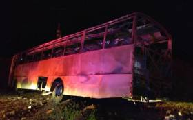 The wreckage of the bus that was petrol bombed near Burgersfort, Limpopo on 2 April 2018. Picture: @SAPoliceService/Twitter