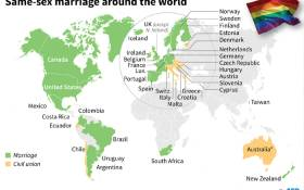 Map showing countries where homosexuels may marry or enter into a civil partnership.