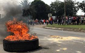 FILE: Optimum coal mine workers protest after the company failed to pay their salaries on 23 February 2018. Picture: Pelane Phakgadi/EWN.