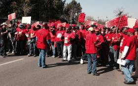 Members of the National Union of Metalworkers of South Africa (Numsa) picket at Megawatt Park, Sunninghill, north of Johannesburg on 2 July 2014. Picture: Sebabatso Mosamo/EWN.