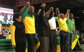 The ANC's newly elected top six acknowledge their supporters at the party's national conference at Nasrec in Johannesburg on 18 December 2017. Picture: EWN