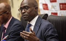Finance Minister Malusi Gigaba at a briefing. Picture: AFP