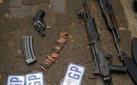 Ammunition and weapons found inside a stolen vehicle in Fordsburg, Johannesburg. Picture: @AsktheChiefJMPD/Twitter.