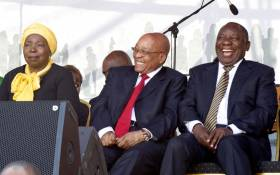 FILE: President Jacob Zuma with Deputy President Cyril Ramaphosa and former AU Chair Nkosaza Dlamini-Zuma during the 60th Anniversary of the National Women's Day celebrations at the Union Buildings, Pretoria. Picture: GCIS.