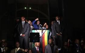 Zimbabwe's Emmerson Mnangagwa addressing the crowd at Zanu-PF's headquarters. Picture: Ihsaan Haffejee/EWN