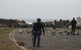 Police monitoring protesting Zwelihle residents on 18 July 2018. Picture: Picture: Cindy Archillies/EWN