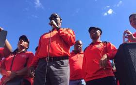 Trade unionist Zwelinzima Vavi addressing anti-minimum wage protesters in Cape Town. Picture: @Numsa_Media/Twitter