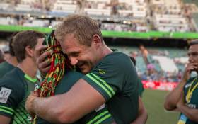 Blitzbok Captain Philip Snyman celebrates after winning the Dubai tournament in 2016. Picture: Twitter/@snymanphilip