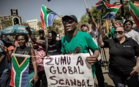 FILE: Members of Save SA, unions and other civil society groups demonstrate in support of axed Finance minister Pravin Gordhan outside South African National Treasury on 31 March 2017 in Pretoria. Picture: AFP