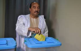 President Mohamed Ould Abdel Aziz of Mauritanian casts his vote in the country's constitutional referendum on 5 August, 2017 at the polling station in Nouakchott. Picture: AFP.