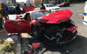 A Ferrari 488 Spider was allegedly sent into a spin by a Mazda which is said to have skipped a red light in Sandton on Saturday. Picture: Instagram @Motor_magnet