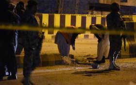 FILE: Pakistani security personnel inspect the site of an explosion in Quetta on 13 February 2017. Picture: AFP.