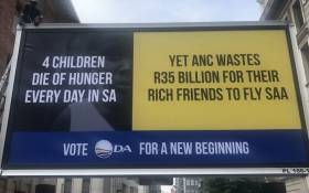 The Democratic Alliance unveils its new billboard in Johannesburg on 23 October 2017. Picture: Clement Manyathela/EWN