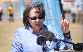 Cape Town Mayor Patricia de Lille unveiled one of 200 water distribution stations to be set up across the city. Picture: Bertram Malgas
