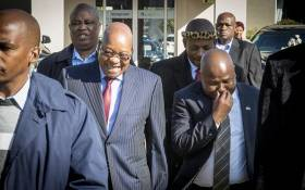 President Jacob Zuma laughs as he arrives at the Traditional Leaders' Indaba in Boksburg on 29 May 2017. Picture: Reinart Toerien/EWN.