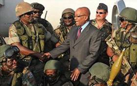 President Jacob Zuma with SANDF soldiers in Tripoli,Lybia. Picture: GCIS