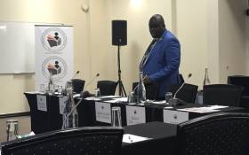 African National Congress Youth League General Secretary Njabulo Nzuza ahead of his submissions at the Fees Commission in Pretoria. Picture: Clement Manyathela/EWN.
