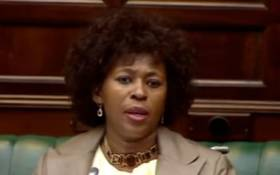 A screengrab of MP Makhosi Khoza in Parliament during the SABC inquiry.