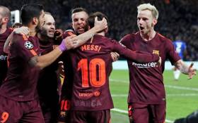 Barcelona players celebrate with goalscorer Lionel Messi. Picture: @FCBarcelona/Twitter