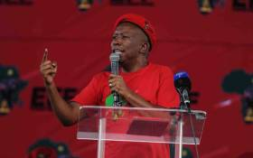 FILE: EFF leader Julius Malema addresses supporters. Picture: @EFFSouthAfrica/Twitter
