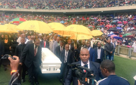 Sfiso Ncwane's coffin arrives in the Moses Mabida Stadium on 10 December, 2016. Picture: Victor Magwedze/EWN.