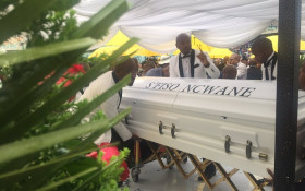 Sfiso Ncwane's coffin arrives at the Moses Mabida stadium in Durban during his funeral. Picture: Victor Magwedze/EWN.