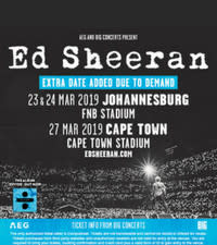 [UPDATE] Extra Ed Sheeran Show in Johannesburg added to his SA tour!